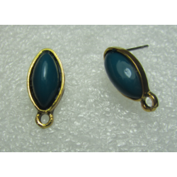 Horse Eye Ear Stud 19x9 mm Cobalt Resin Stone, Golden Base - 2 pcs