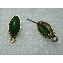 Horse Eye Ear Stud 19x9 mm Green Resin Stone, Golden Base - 2 pcs