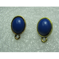 Oval Ear Stud 15x9 mm Cobalt Resin Stone, Golden Base - 2 pcs