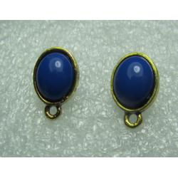 Oval  Ear Stud  15x9  mm  Cobalt  Resin Stone, Golden Base  -  2 pcs