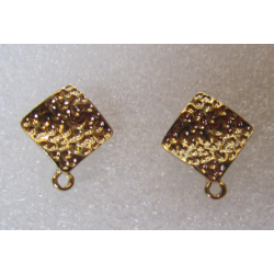 Rhombus Bossed  Ear Stud  19x16  mm   Golden Colour  -  2 pcs