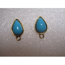 Drop Ear Stud 16x9 mm Turquoise Blue Resin Stone, Golden Base - 2 pcs