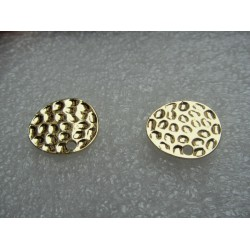 Ellipse Bossed  Ear Stud  13x16  mm   Golden Colour  -  2 pcs