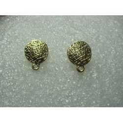 Round Bossed  Ear Stud  11  mm   Golden Colour  -  2 pcs