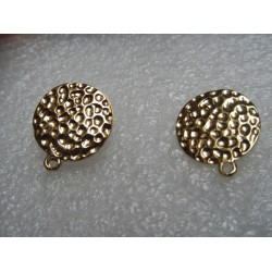 Flat Round Bossed Ear Stud 15 mm Golden Colour - 2 pcs