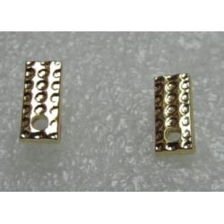 Rectangular Bossed  Ear Stud  11x5 mm   Golden Colour  -  2 pcs