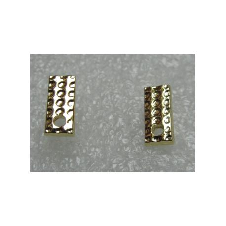 Rectangular Bossed  Ear Stud  11x5 mm   Golden Colour  -  2 pcs
