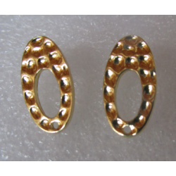 Oval Hollow Bossed  Ear Stud  18x10  mm  Gold  Colour  -  2 pcs