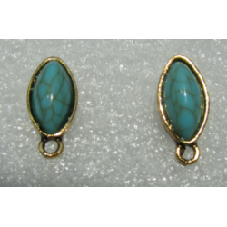 Horse Eye Ear Stud 19x9 mm Imitation Turquoise Resin Stone, Golden Base - 2 pcs