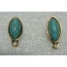 Horse Eye   Ear Stud  19x9  mm Imitation Turquoise  Resin Stone,  Golden  Base  -  2 pcs
