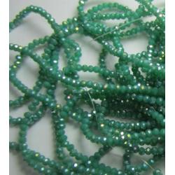 Rondelle Sfaccettate in Vetro 3 x 2  mm Sea Green   AB  - 1 Filo da circa 41 cm