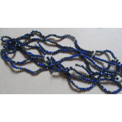Glass Faceted Oval Beads 3 x 2 mm  Royal Blue  1/2 AB   - 1 Strand of about  38 cm