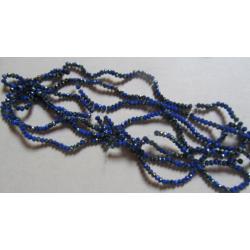 Rondelle Sfaccettate in Vetro 3 x 2  mm  Royal Blue 1/2  AB - 1 Filo da circa 38 cm