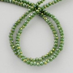 Glass Faceted Oval Beads 3 x 2 mm  Light Olive  AB  - 1 Strand of about  41 cm