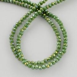 Rondelle Sfaccettate in Vetro 3 x 2  mm  Light Olive AB  - 1 Filo da circa 41 cm
