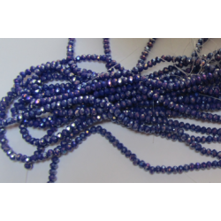 Glass Faceted Oval Beads 3 x 2 mm  Blue Luster  - 1 Strand of about  34 cm