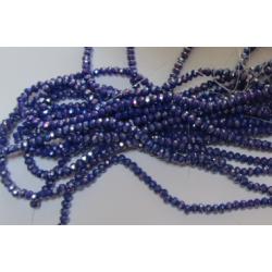 Rondelle Sfaccettate in Vetro 3 x 2  mm Blue Luster - 1 Filo da circa 34 cm