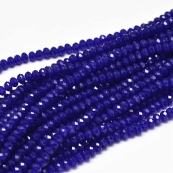 Glass Faceted Oval Beads 3 x 2 mm Cobalt - 1 Strand of about 34 cm