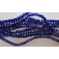 Glass Faceted Oval Beads 4x3 mm Blue Luster  - 1 Strand of about 40 cm