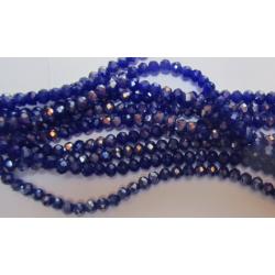 Rondelle Sfaccettate in Vetro 4x3 mm  Blue Luster - 1 Filo da circa  40 cm