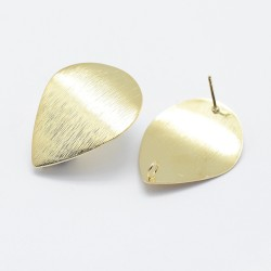 Brass Lined Curved  Drop Ear Stud  28x21 mm  Long Lasting 18k Gold  Color Plated - 2  pcs