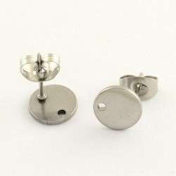 Stainless Steel Flat Round  Ear Stud  8 mm with Ear Nut -  2 pcs