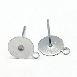 Stainless Steel Flat Round  Ear Stud  12,5x10 mm  -  2 pcs