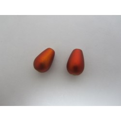 Glass Tears/Pears  13x8 mm Spray Painted Matte  Dark Orange  -  10 pcs