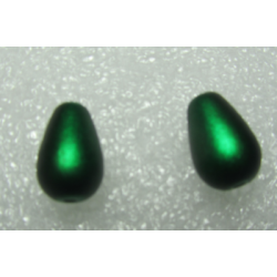 Glass Tears/Pears  13x8 mm Spray Painted Matte  Green  -  4  pcs
