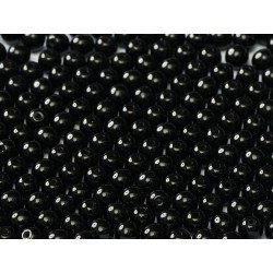 Round Beads  2 mm Jet  - 50 pcs