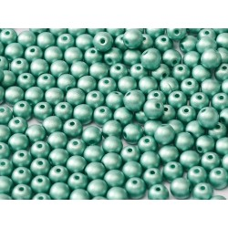 Round Beads  3 mm Metallic  Emerald - 50 pcs