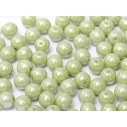 Perle Tonde in Vetro di Boemia 3 mm Chalk White Mint Luster - 50 Pz
