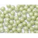 Perle Tonde in Vetro di Boemia  3 mm  Chalk White  Mint  Luster - 50  Pz
