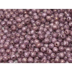 Perle Tonde in Vetro di Boemia  3 mm  Chalk White  Teracota Purple - 50  Pz