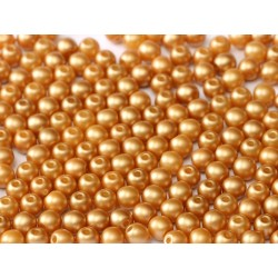 Round Glass Beads 4 mm Pastel Amber - 50 pcs