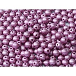 Round Glass Beads 4 mm Metallic Lilac - 50 pcs