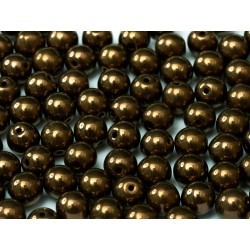 Round Glass Beads 4 mm Jet Bronze - 50 pcs