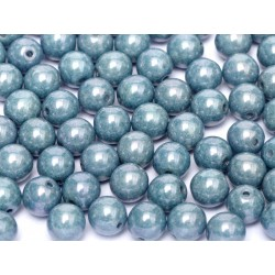 Round Beads 6 mm Chalk White Baby Blue Luster - 25 pcs