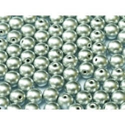 Perle Tonde in Vetro di Boemia  8 mm  Aluminium Silver - 20 Pz