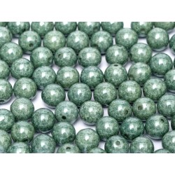 Round Beads 8 mm Chalk White Teal Luster - 20 pcs