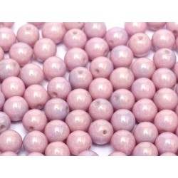 Round Beads  8 mm Chalk White Baby Blue Luster - 20 pcs