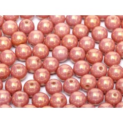 Round Beads  8 mm Chalk White Red  Luster - 20 pcs