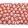 Perle Tonde in Vetro di Boemia  8 mm  Chalk White Red  Luster - 20 Pz