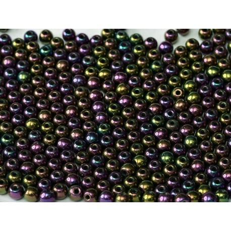 Perle Tonde in Vetro di Boemia  8 mm  Iris Purple- 20 Pz