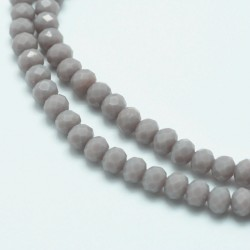 Glass Faceted Oval Beads 4x3 mm  Opaque Grey - 1 Strand of about 45  cm