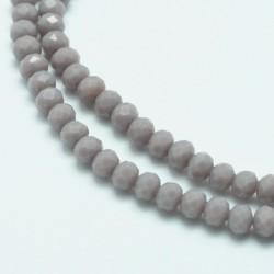 Rondelle Sfaccettate in Vetro 4x3 mm  Opaque Grey - 1 Filo da circa  45  cm