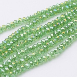 Glass Faceted Oval Beads 4x3 mm  Light Green AB - 1 Strand of about 40 cm