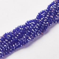 Rondelle Sfaccettate in Vetro 4x3 mm Blue  AB - 1 Filo da circa  40 cm