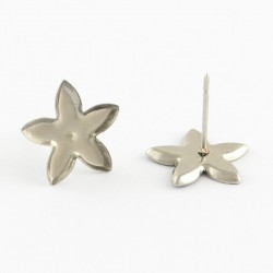 Stainless Steel  Flower Ear Stud  13 x 12,5  mm -  2 pcs