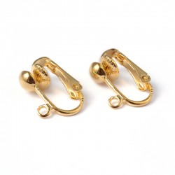 Clip-on  Earring Component  15,5x13,5 mm, Gold  Color  - 2 pcs